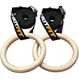 RitFit RitFit Wood Gymnastics Rings With Adjustable Buckle Straps - Great For Home Gym CrossFit Strength Training Pull Ups & Dips - Workout Guide INCLUDED