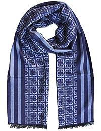 4ad97c5462bc FERETI Echarpe Homme Soie Bleu A Large Rayures Et Tartan Abstract Carreaux  Foulard Automne Hiver