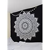 RawyalCrafts Tapisserie murale indienne motif mandala 100% coton Noir Blanc