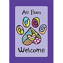 Toland - All Paws Welcome - Decorative Dog Cat Pet Heart Purple USA-Produced Garden Flag