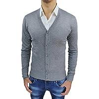 Cardigan maglioncino Uomo grigio maglione toppe tartan scozzese Slim