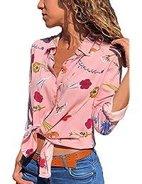 GOSOPIN Damen Bluse Häkel Blumen V-Ausschnitt Tops Loose mit 3 4 Ärmel Hemd e84a0e0733