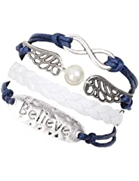 """Christmas Gifts for Men or Women-MARENJA Fashion-Blue and White Leather Wax Cord Braided Woven Bracelet """"Believe"""" Plate and Angel Wings with Infinity Sign 15-20cm"""
