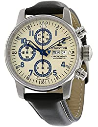 Fortis Flieger Classic Automatic Chronograph Steel Mens Watch Beige Dial Day/Date 597.20.92 L.01