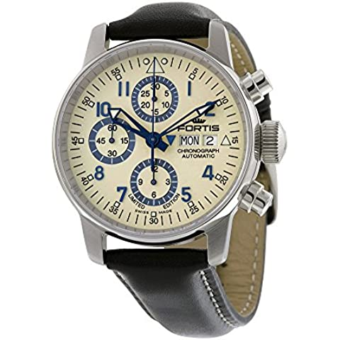 Fortis Flieger Classic Automatic Chronograph Steel Mens Watch Beige Dial Day/Date 597.20.92 L.01 - Chronograph Beige Dial