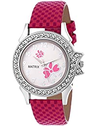 Matrix Pink Dial & Leather Strap Analog Watch for Women/Girls- (WN-26)