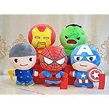 Set Of 5 Marvel Avengers Hulk, Spiderman, Captain America, Iron Man, Thor Soft Toy Plush 10 Cm Figure Keychain Keyring