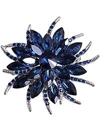 Merdia Pin De La Broche De La Flor Para Las Mujeres Novias Creó La Broche Cristalina Azul
