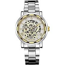 GuTe Mechanical - Reloj de pulsera unisex, blanco y dorado