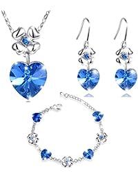 MARENJA Cristal-Conjuntos de Collar Pendientes y Pulsera Mujer Corazon Trebol Chapado en Oro Blanco Cristal Azul
