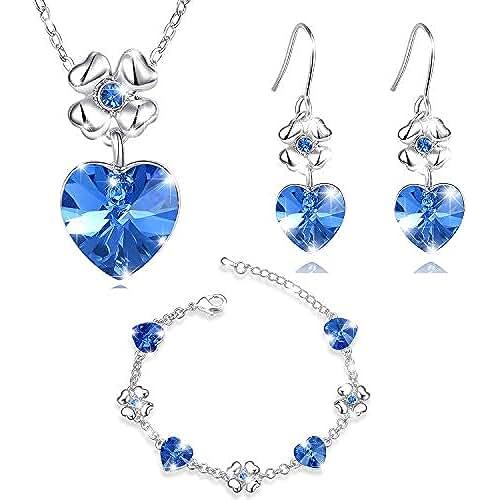 ofertas para el dia de la madre MARENJA Cristal-Conjuntos de Collar Pendientes y Pulsera Mujer Corazon Trebol Chapado en Oro Blanco Cristal Azul