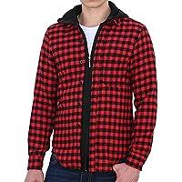 Allegra K Mens Check Pattern Stylish Button Closure Hoodie Shirt Black Red M