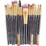 Herramienta Brushes VENMO 15 pcs Fundación Ceja Labio Cepillo Maquillaje Pinceles (Negro)