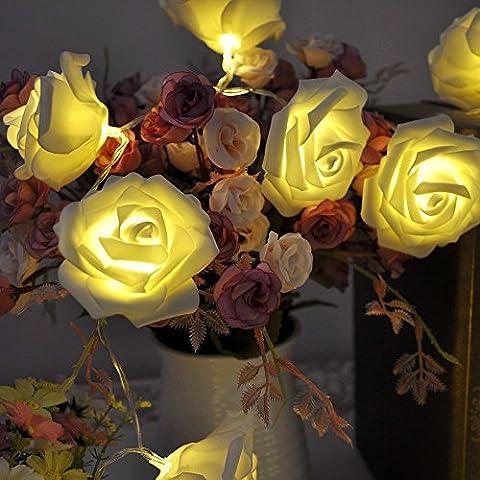 20 LED cadena Luz de batería rosa brillante, Pershoo 2M 20 flor de Rose LED de luz LED de cadena para la Navidad, boda, Fiesta, Bar, en la decoración de interiores, DIY Weddings Decoración del hogar etc Acerca de 3 XAA Baterías