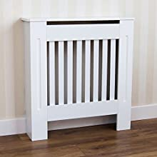 Vida Designs Chelsea Radiator Cover Modern Slatted Grill Slats White Painted MDF Cabinet, Small