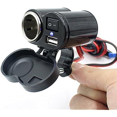 VORCOOL Porta di alimentazione USB moto presa accendisigari per GPS
