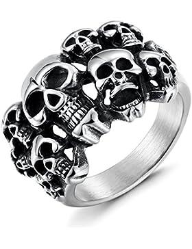Sailimue Edelstahl Ringe für Herren Damen Totenkopf Schädel Ringe Teufel Größe57(18.1)-70(22.3)