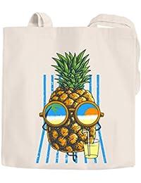 f900d949f4901 Jutebeutel chilling Ananas Pinapple Sommer Beach Party Cocktail Baumwolltasche  Stoffbeutel Tragetasche Moonworks® natur 2 lange