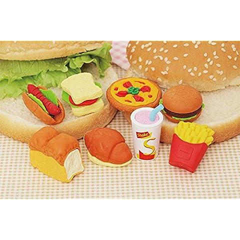 IWAKO 8 piezas de panadería y alimentos de comida rápida japonesa Puzzle borradores de Japón