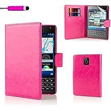BlackBerry Passport Funda Carcasa Flip de Piel PU Tipo Libro Billetera con Tapa y Tarjetero de 32nd® - Rosa