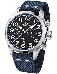 TW Steel Volante Armbanduhr VS38 Dual Time Textilband blau UVP 259EUR
