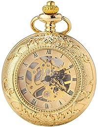 SEWOR C125 - Reloj de bolsillo de movimiento mecánico automático, color dorado