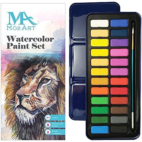 Watercolor Paint Set Conjunto de acuarela pintura - 24 - vibrabt colores ligero y portátil - ideal para los aficionados y profesionales en ciernes - Pincel incluido - Suministros Mozart