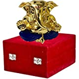 Msa Jewels Gold Plated Divine Lord Ganesh Idol -(4.5x4x3 Cm) With Red Velvet Box