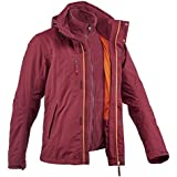 Quechua Rainwarm 100 3-in-1 Men's Trekking Jacket - Burgundy