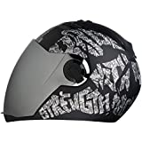 Steelbird SBA-2 Strength Stylish bike full face helmet with free transparent Visor for night vision (600MM, Black with Silver - Silver Mirror Visor)