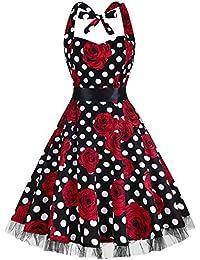 oten Vintage Dresses, Women Floral Print 1950's Rockabilly Halter Swing Dress