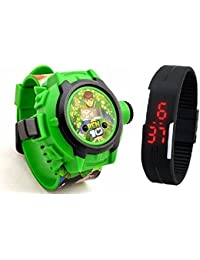 Lemonade Pack Of 2 Kids Favourite Benton 24 Character Projector Band & Digital Led Bracelet Band For Kids, Children