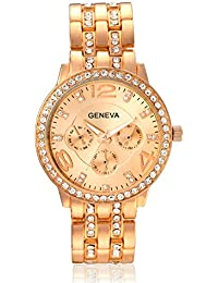 Geneva Collection Rose Gold Dial Analog Watch For Women-GNV-0019