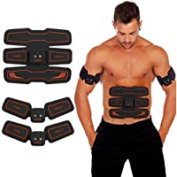 HURRISE EMS Muscle Stimulator, Abs Trainer Stomach Toning Belt Abdomen/Waist /Leg/Arm/Buttock with 6 Modes, USB Rechargeable, Body Fitness Exercise Equipment (men/women)