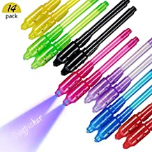 DAYPICKER 14 Paquetes Bolígrafo de Tinta Invisible, lápiz espía con rotulador mágico de luz UV