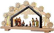 WeRChristmas 24 cm för-Lit jul trä nativitet scen dekoration upplyst med 8 varma vita LED Small flerfärgad
