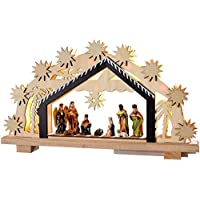 Pre-Lit Christmas Wooden Nativity Scene Decoration Illuminated with 8 Warm White LED - Width 24cm