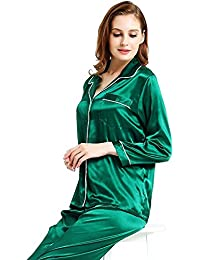 a0a00d6665a LONXU Womens Silk Satin Pajamas Set Sleepwear Loungewear XS~3XL Plus Gifts