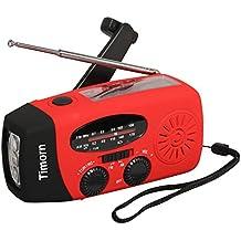Timorn solare della manovella Auto Radio di emergenza alimentato con LED torcia elettrica AM / FM Radio Smart Phone Charger Power Bank (Rosso)