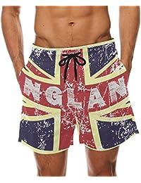 afbbad5cc0 BENNIGIRY Men's UK British Flag Surf Swim Trunks Quick Dry Beach Pants  Board Shorts