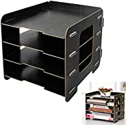 Bookshelf Wood DIY 4 Compartments Literature A4 File Holder Vertical Book Rack Office Home School Use Mini Boo