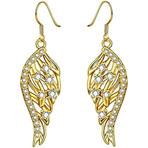 Alimab Gioielli Placcato in oro donne goccia ala piuma orecchini