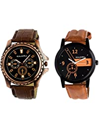 Kajaru KJR-1,4 Round Black Dial Analog Watch Combo For Men (Pack Of 2)