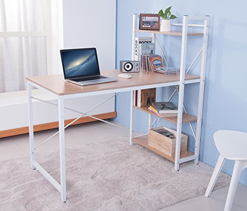 LIFE CARVER (BTM) PC Table Computer desk for Home Office Furniture Study Workstation Table Laptop Table Desk Desktop Table Walnut Coffee (Oak)