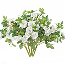 justoyou 5pcs rosas de seda flores artificiales Mini Artificial ramos para bodas hogar tumbas cuadro jardín decoración, tela, Blanco, Paquete de 5