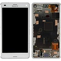 Original Sony Display Full LCD Komplettset mit Rahmen Touchscreen Glas Scheibe Ersatzteil Zubehör Reparatur Weiss für Xperia Z3 Compact + Werkzeug Opening Tool