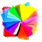 JZK 20 Piezas pañuelos de Malabares Bailar pequeño pañuelo Seda Bufandas de Danza para niños Adulto Chicas Actividades de Fie