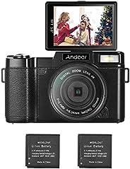 Andoer Vlogging Camera Digital Camera, R1 1080P 15fps Full HD 24MP 3.0\ Flip Screen Camcorder Anti-Shake 4X Di