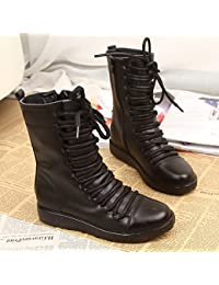 &ZHOU Botas otoño y del invierno botas cortas mujeres adultas 'Martin botas botas Knight A6-5 , black , 39