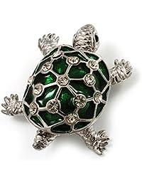Carcasa verde de cristal de esmalte broche con forma de tortuga (chapado en rodio)